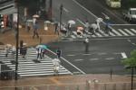 雨の日の交差点