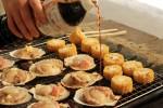 焼き帆立と焼きトウモロコシ 醤油を添えて
