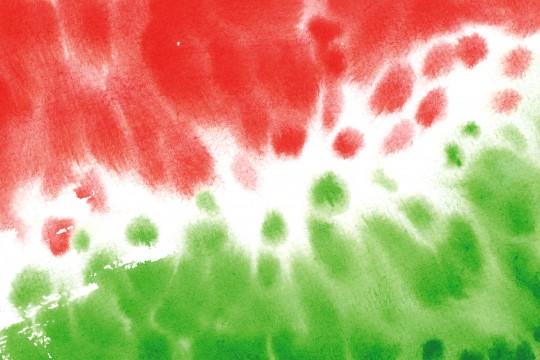赤と緑の水彩のテクスチャ