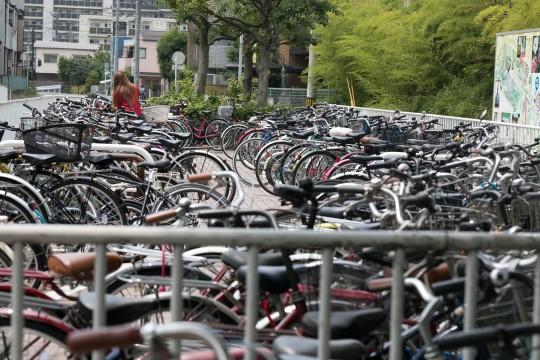 自転車がたくさん停まっている駐輪場