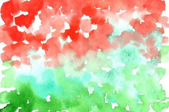 赤と緑の水彩のテクスチャ2