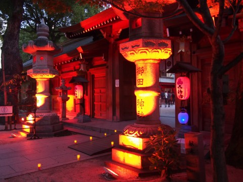 ライトアップされた櫛田神社