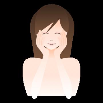 スキンケアする女性のイラスト