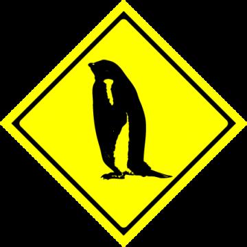 ペンギン飛び出し注意の標識