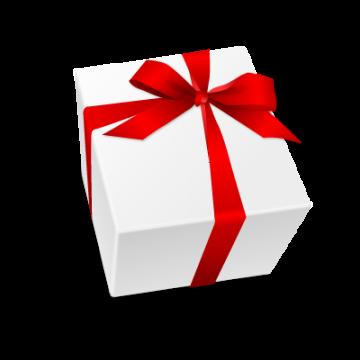 リボンの付いた白いプレゼント箱