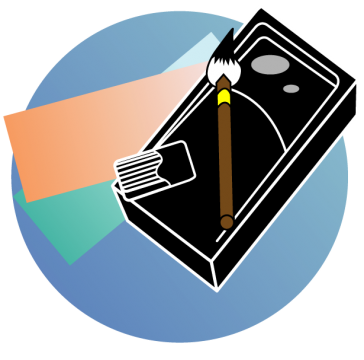 習字道具と短冊