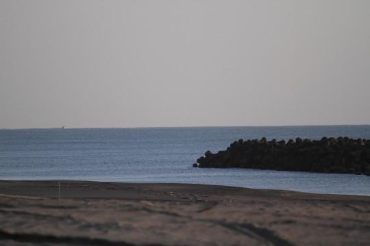 黒砂の海岸とテトラポッド