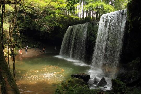 緑に囲まれた滝