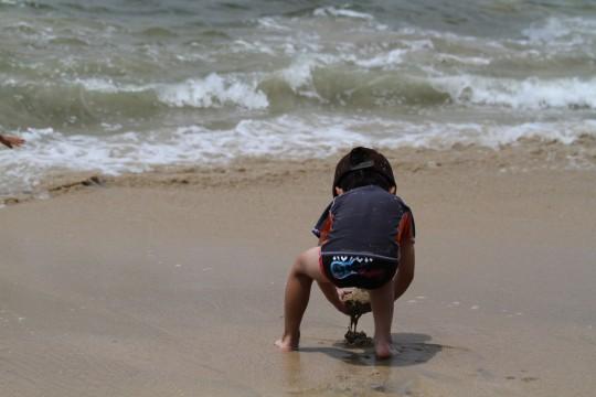 砂浜で遊ぶ幼児