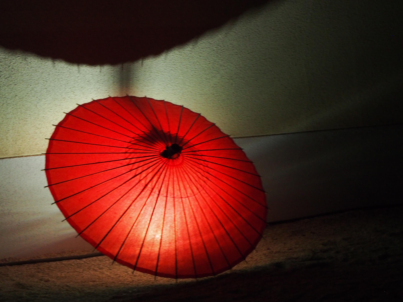 赤い蛇の目傘