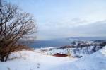 雪景色の中の遊園地