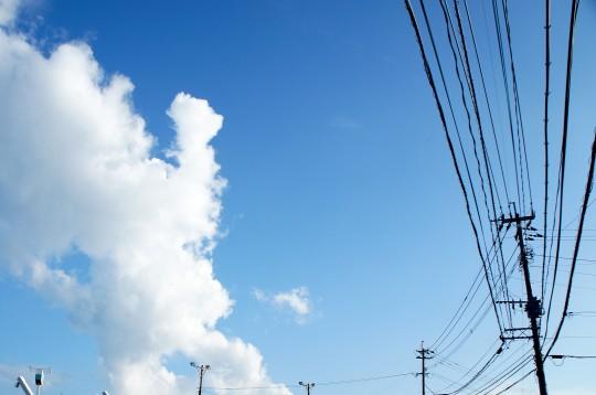 夏の空と電信柱
