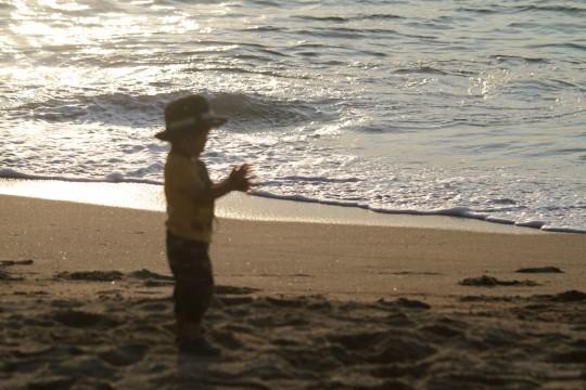 海辺で遊ぶ幼児