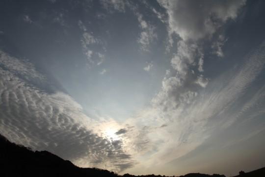 巻積雲と太陽