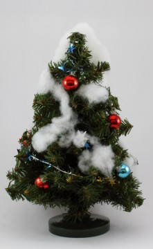 飾りの付いたクリスマスツリー