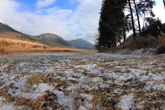 薄く雪が積もった草原