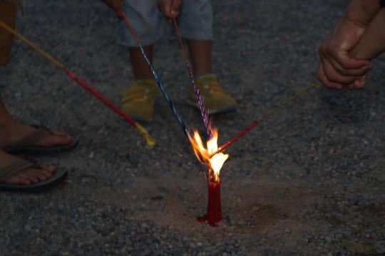 花火に点火
