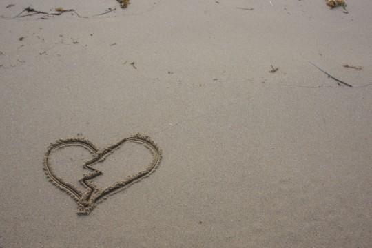 砂浜のハートマーク2