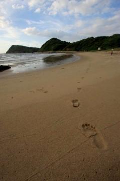 砂浜に残る足あと