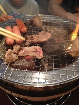 七輪で焼いた焼肉