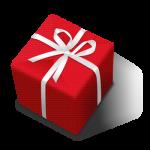 白いリボンの付いた赤いプレゼント箱