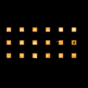 施設アイコンセット(橙)
