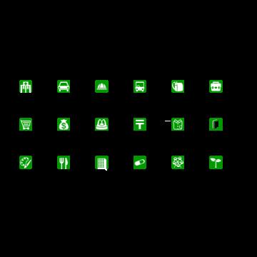 施設アイコンセット(緑)