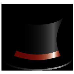 赤いリボンのついたシルクハット